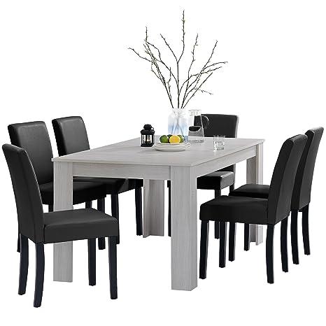 Tavolo Bianco E Sedie Nere.En Casa Tavolo Da Pranzo E Set Di Sedie Oslo Bianco 16x9 6 Sedie Imbottite Nere