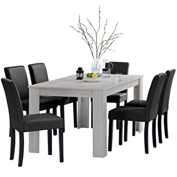 [en.casa]®] Set de Comedor Mesa Oslo (Blanca - 160x90) 6 sillas (tapizadas - Negras) - Set Ahorro