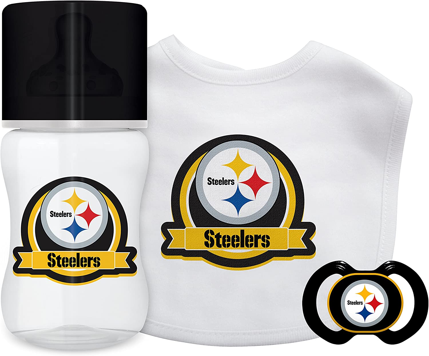 Baby Fanatic NFL Pittsburgh Steelers Unisex PIS3033-Piece Gift Set - Pittsburgh Steelers, See Description, See Description