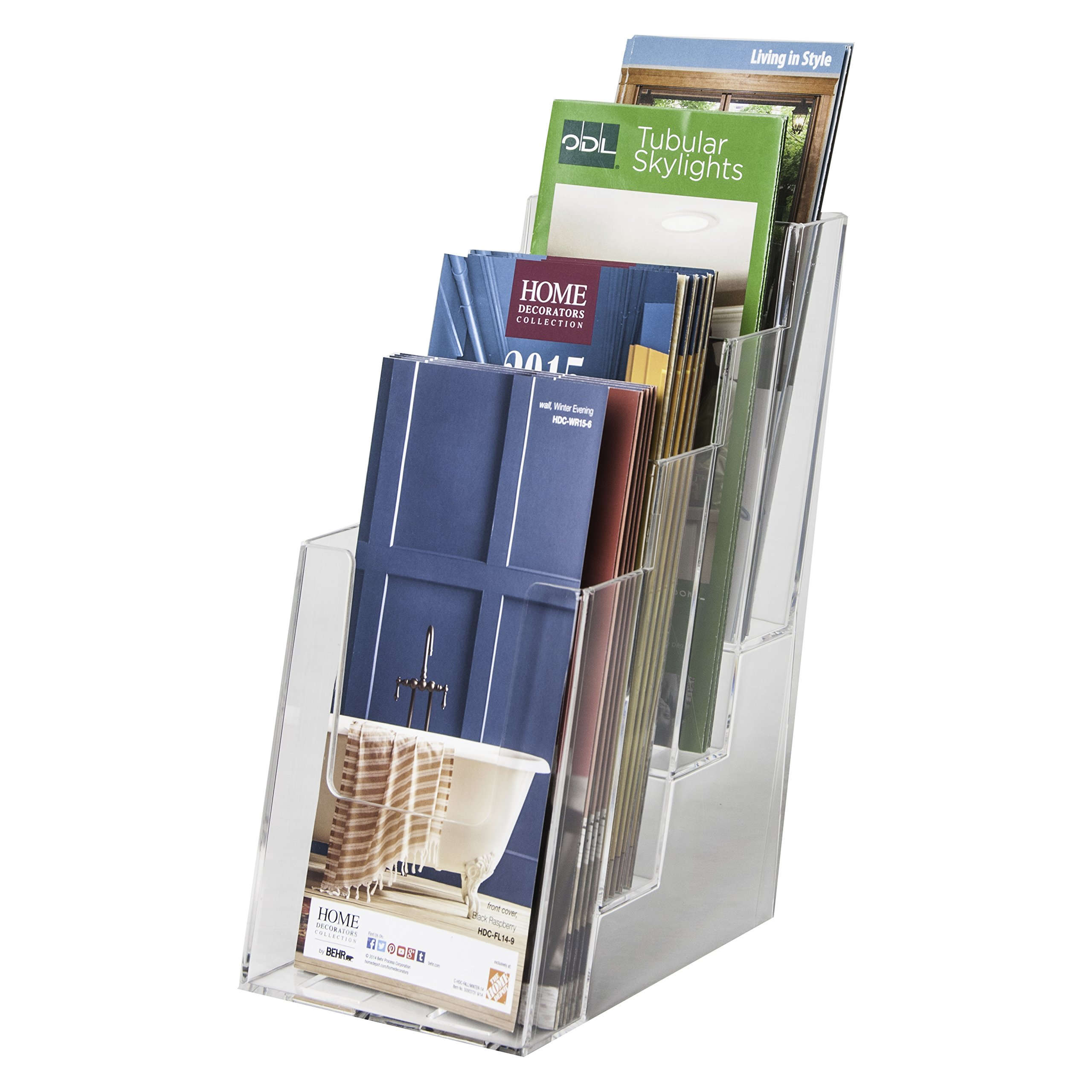 Clear-Ad - LHF-S104 - Acrylic Slant Back 4 Tier Trifold Brochure Display - Plastic Literature Holder for Flyers, Booklets, Bills, Mail, Letters, Cards, Pamphlets, Maps (Pack of 4) by Clear-Ad (Image #6)