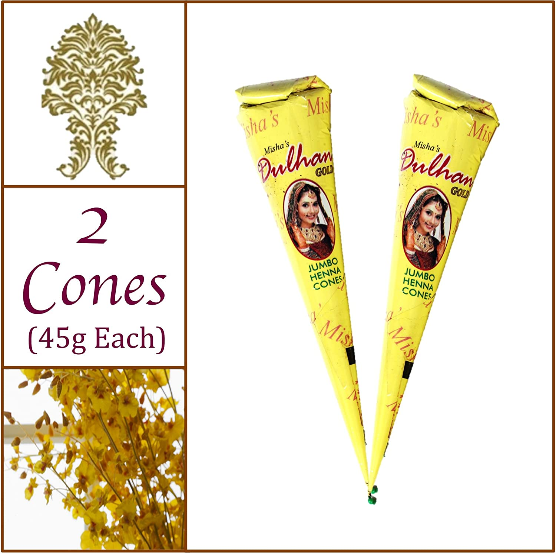 2 Jumbo Cones. Dulhan Gold Henna Paste. No Chemicals No PPD. 45g Ea. Misha