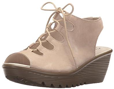 23cdcd526e14 Skechers Women s Parallel Peep Toe Ghillie Slingback Wedge Sandal Natural 5  ...