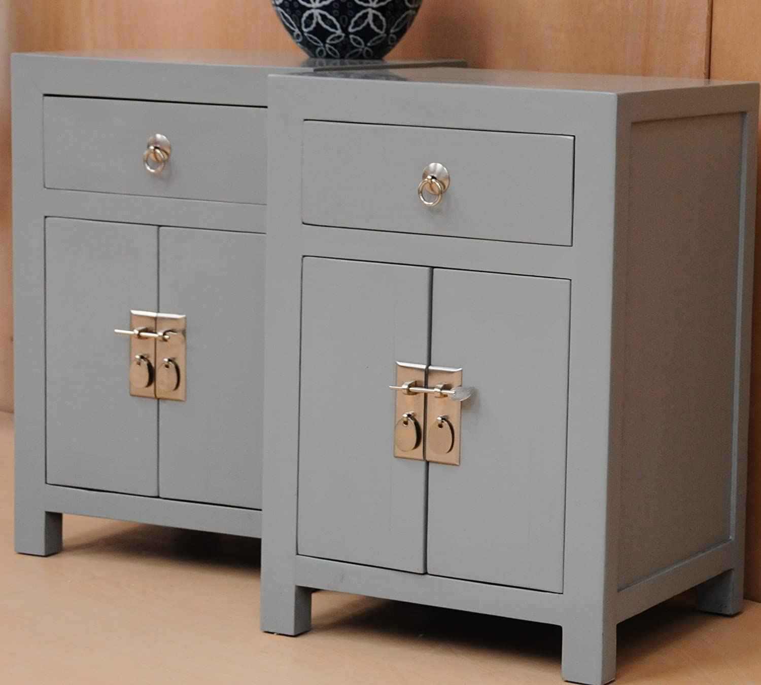 Pair of Sanya Oriental Style Bedside Table 1 Drawer and 1 Cupboard ...