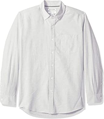 Amazon Essentials – Camisa Oxford lisa de manga larga de corte recto para hombre: Amazon.es: Ropa y accesorios