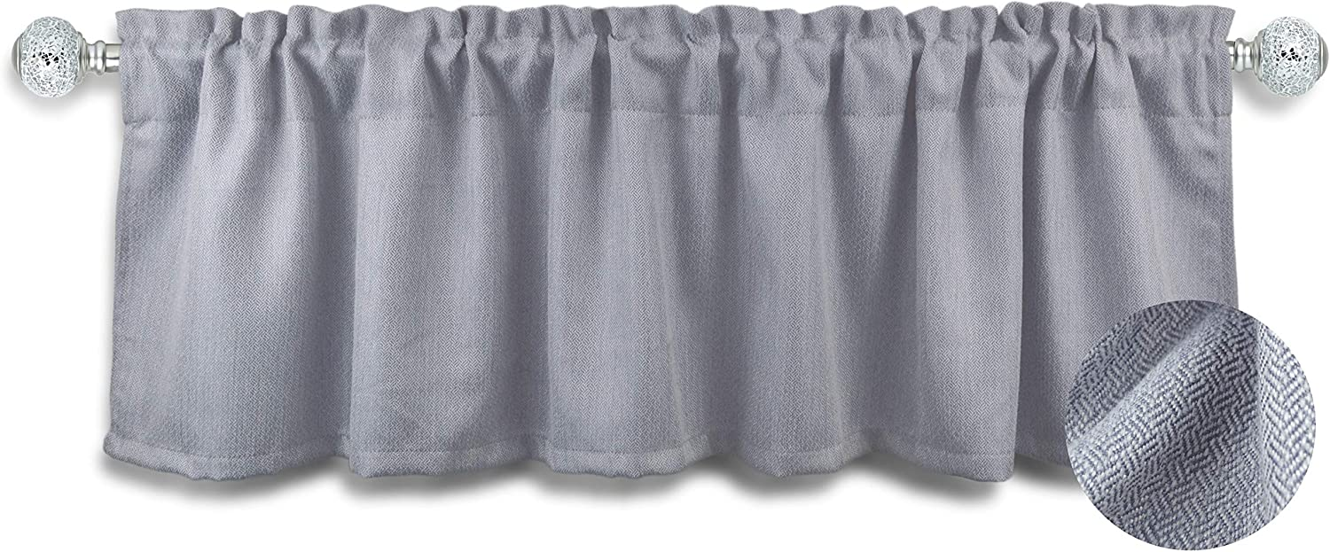 Aiking Window Treatment - Brushed Rod Pocket Window Valance Curtain for Home/Kitchen/Event Designs, 56 by 16 inch (1-Panel, Silver)