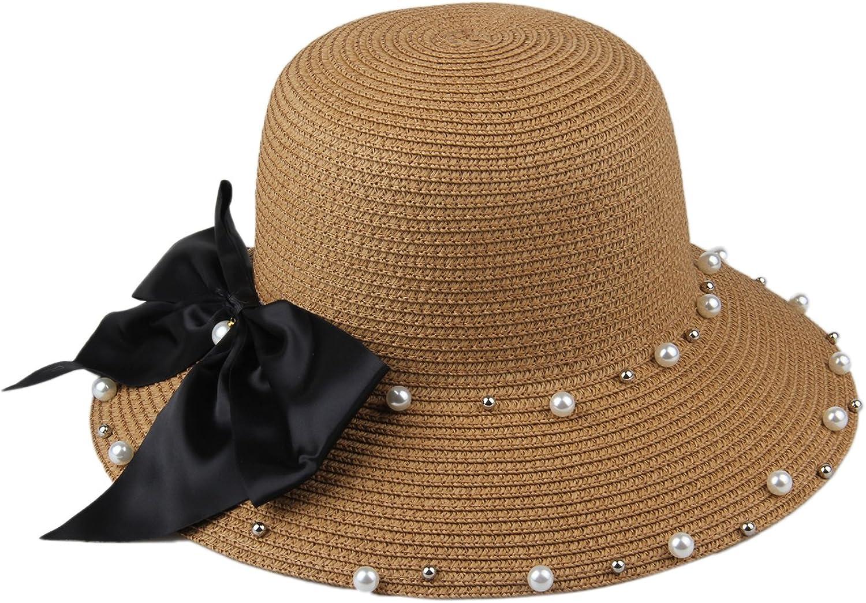 Dantiya Womens Derby Hat Pearl Straw Cap Bucket Hat With Bow