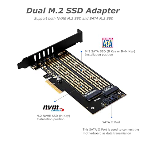 Dual M 2 PCIE Adapter for SATA or PCIE NVMe SSD With advanced heat sink  solution,M 2 SSD NVME (m key) or SATA (b key) 22110 2280 2260 2242 2230to