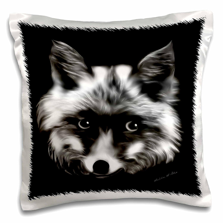 3dRose Fox-Black-White-Pillow Case 16 by 16 pc/_8361/_1