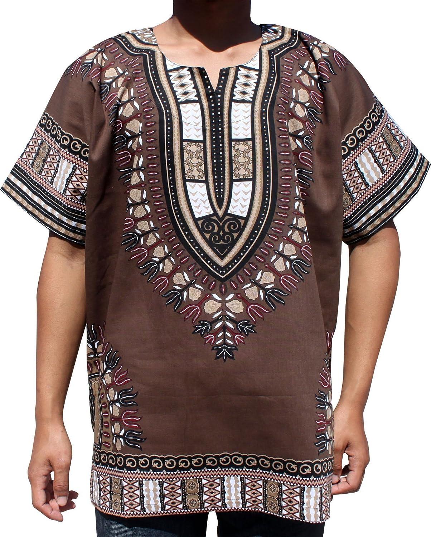 RaanPahMuang明るい色コットンアフリカDashikiシャツプラスサイズプレーンフロント B07G4GWZG5 Cafe Noir Brown XXXXXX-Large