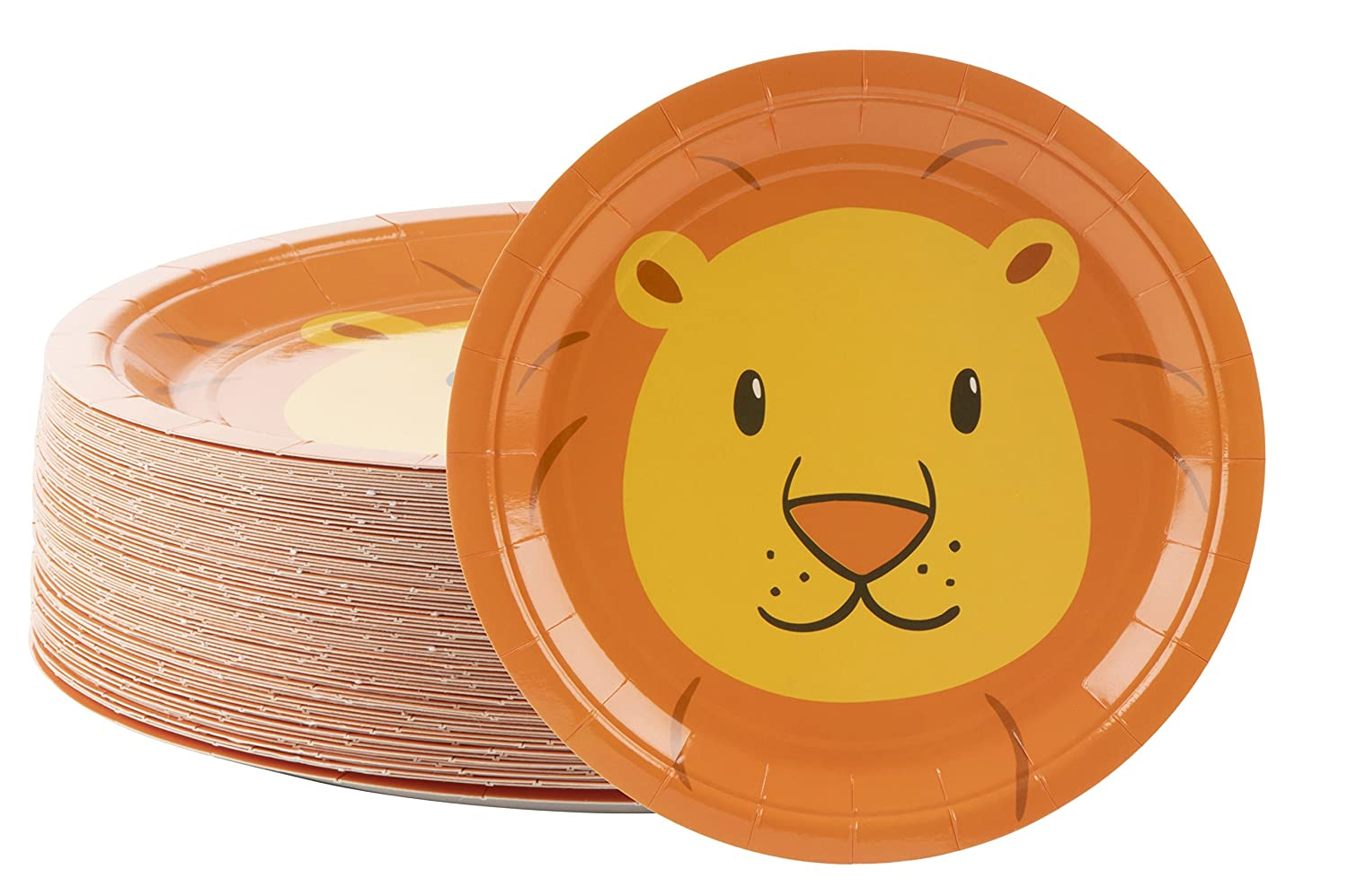 Disposable Plates - 80-Count Paper Plates, Lion Party Supplies for Appetizer, Lunch, Dinner, and Dessert, Kids Birthdays, 9 x 9 inches