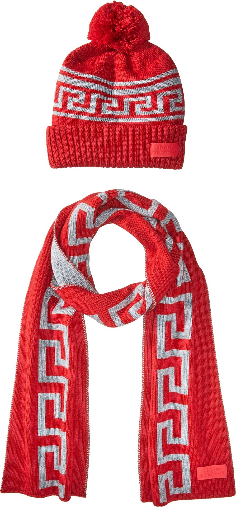 Versace Kids  Boy's Greca Hat & Scarf Set (Big Kids) Red/Grey 13/14 by Versace