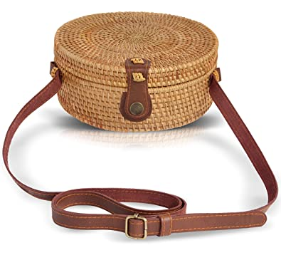 Boho Chic Rattan Ata Round Crossbody Bag with Genuine Leather ...