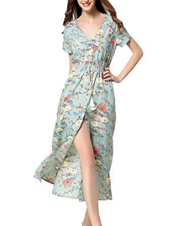 Womens Spring Autumn Fashion Sexy Print Flower Maxi Dress Floral Deep V Neck Long Sleeve High Split Beach Long Dress Women's Clothing