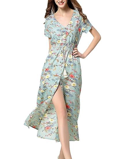 fd6bf3c49c4e7 ARANEE Women's Sexy Split Floral Off-Shoulder Beach Party Maxi Dress