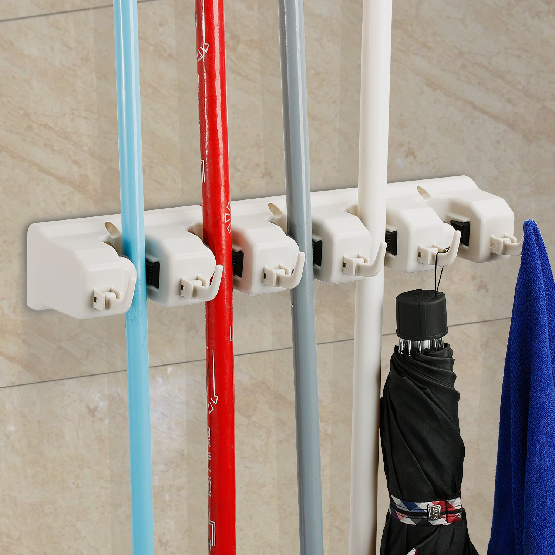 Amazon.com: Mop And Broom Holder, HOMETEKE Broom Organizer, Garage Storage  Systems Broom Organizer With 5 Position 6 Hooks Garage Storage Holds Up To  11 ...