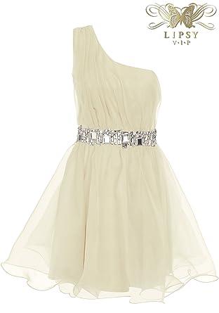 Lipsy VIP Embellished Waist Organza One Shoulder Prom Dress (UK 14)