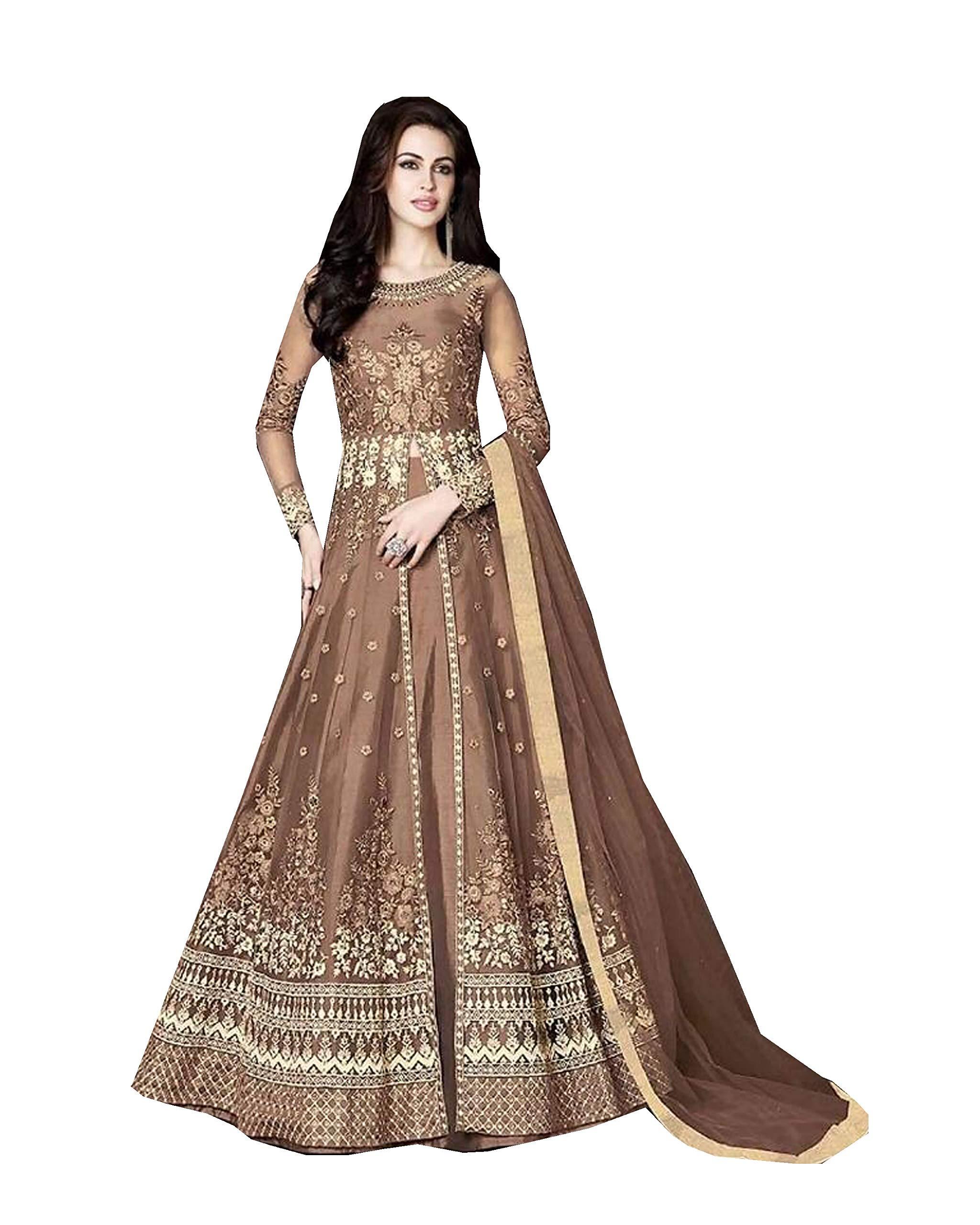 Delisa Indian/Pakistani Bollywood Party Wear Long Anarkali Gown for Womens Razzi 1002 (Light Orange, SMALL-38)