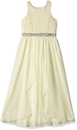 591264f5911b Amazon.com  Speechless Girls  Big Neck Glitter Lace High Low Maxi ...
