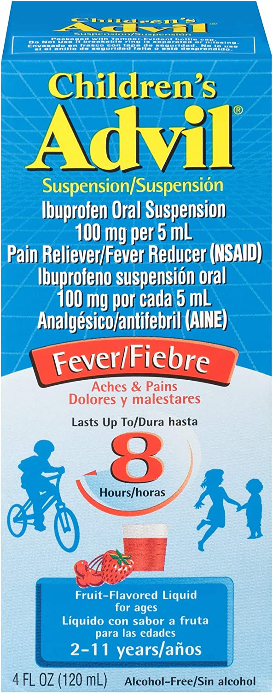 Children's Advil Suspension (4 fl. oz, Fruit-Flavored), 100mg Ibuprofen Fever Reducer/Pain Reliever, Liquid Pain Medicine, Ages 2 – 11