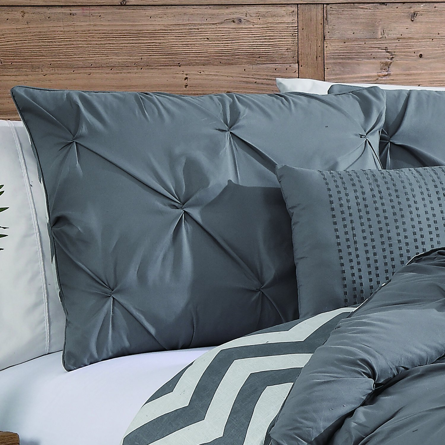 comforter bedding home pleat product overfilled free piece overstock oversized pinch reversible set chic shipping trefort today bath