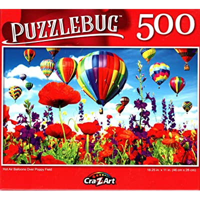 Hot Air Balloons Over Poppy Field - 500 Pieces Jigsaw Puzzle: Toys & Games