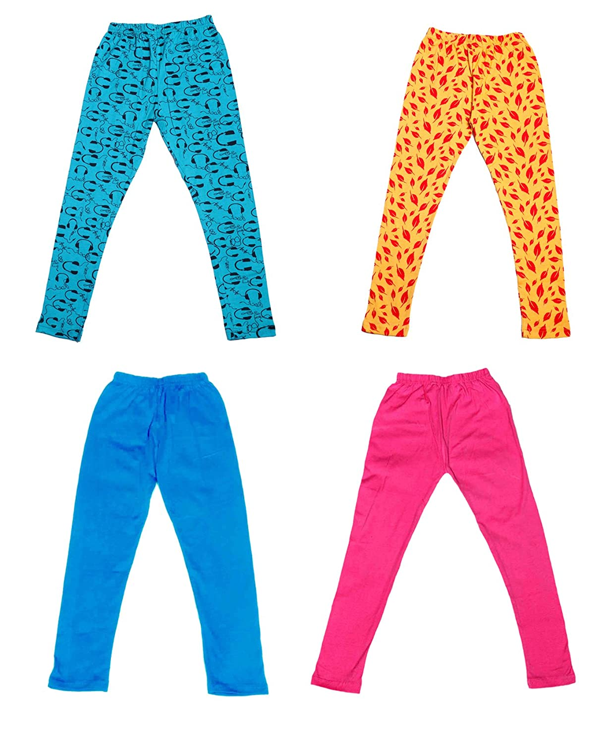 and 2 Cotton Printed Legging Pants /_Multicolor/_Size-3-5 Years/_71411121718-IW-P4-24 Indistar Girls 2 Cotton Solid Legging Pants Pack Of 4