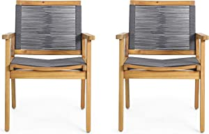 Christopher Knight Home Tracy Outdoor Acacia Wood Dining Chair with Rope Seating (Set of 2), Teak and Dark Gray