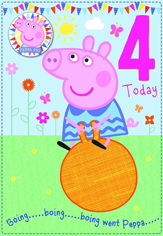 Amazon.com: Peppa Pig Edad 4 tarjeta de cumpleaños con ...