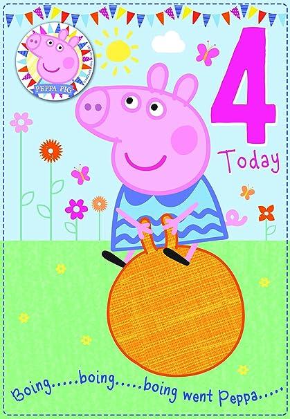 Peppa Pig Edad 4 tarjeta de cumpleaños con insignia: Amazon ...