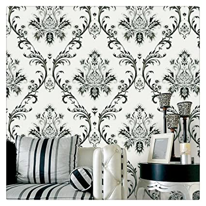 HaokHome 1004 Damask Wallpaper Rolls Off White Black Silver Textured Wall Decoration 208quot