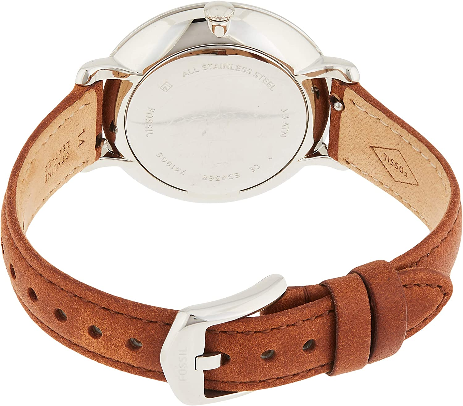 Fossil Women Jacqueline Stainless Steel and Leather Casual Quartz Watch Silver, Brown