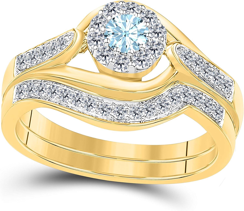 Women/'s Aquamarine CZ Wedding Band Ring 10KT Yellow Gold Filled Size 9