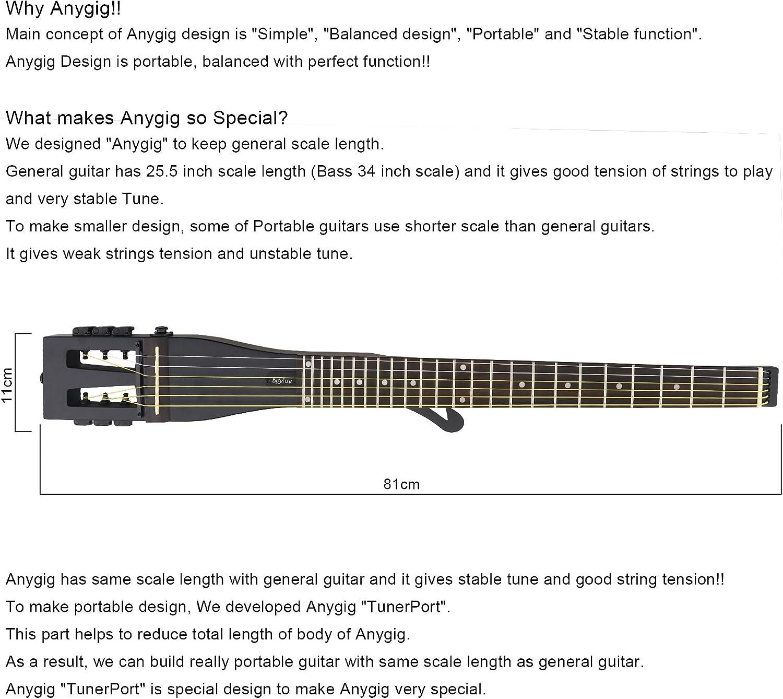 Anygig AGSSE - Guitarra portátil para Zurdos (6 Cuerdas), Color ...