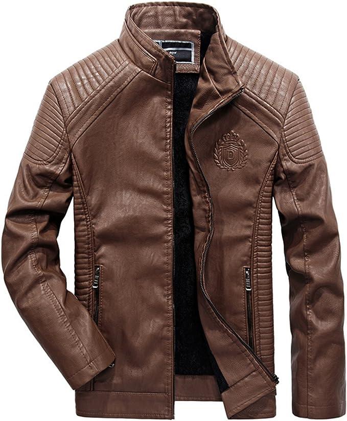Männer Leder Jacke Herren Lederjacke Motorradjacke Einfarbig