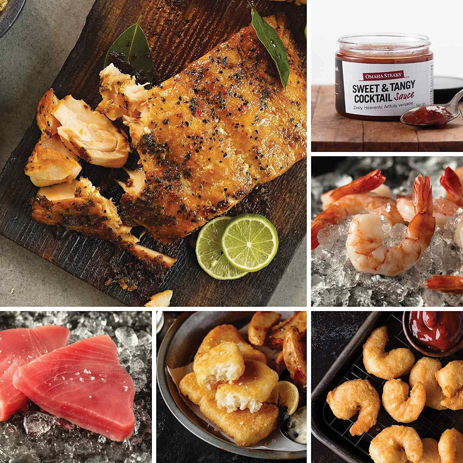Seafood Favorites Assortment from Omaha Steaks (Pub-Style Cod, Marinated Salmon Fillets, Yellowfin Tuna Steaks, Redhook Amber Beer-Battered Shrimp, Jumbo Cooked Shrimp, and more)