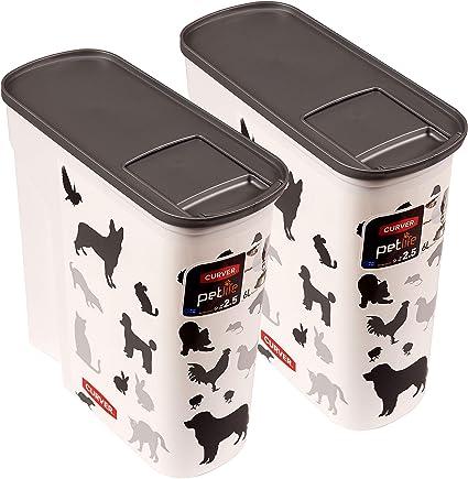 Curver Set Of 2 Petlife Pet Food Container White 2 5 Kg 6 Litre