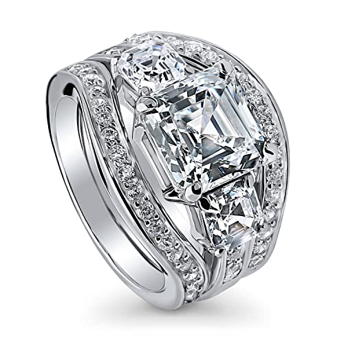 a5bdeaa0f67ae BERRICLE Rhodium Plated Sterling Silver Asscher Cut Cubic Zirconia CZ  3-Stone Anniversary Engagement Wedding Ring Set 6.14 CTW