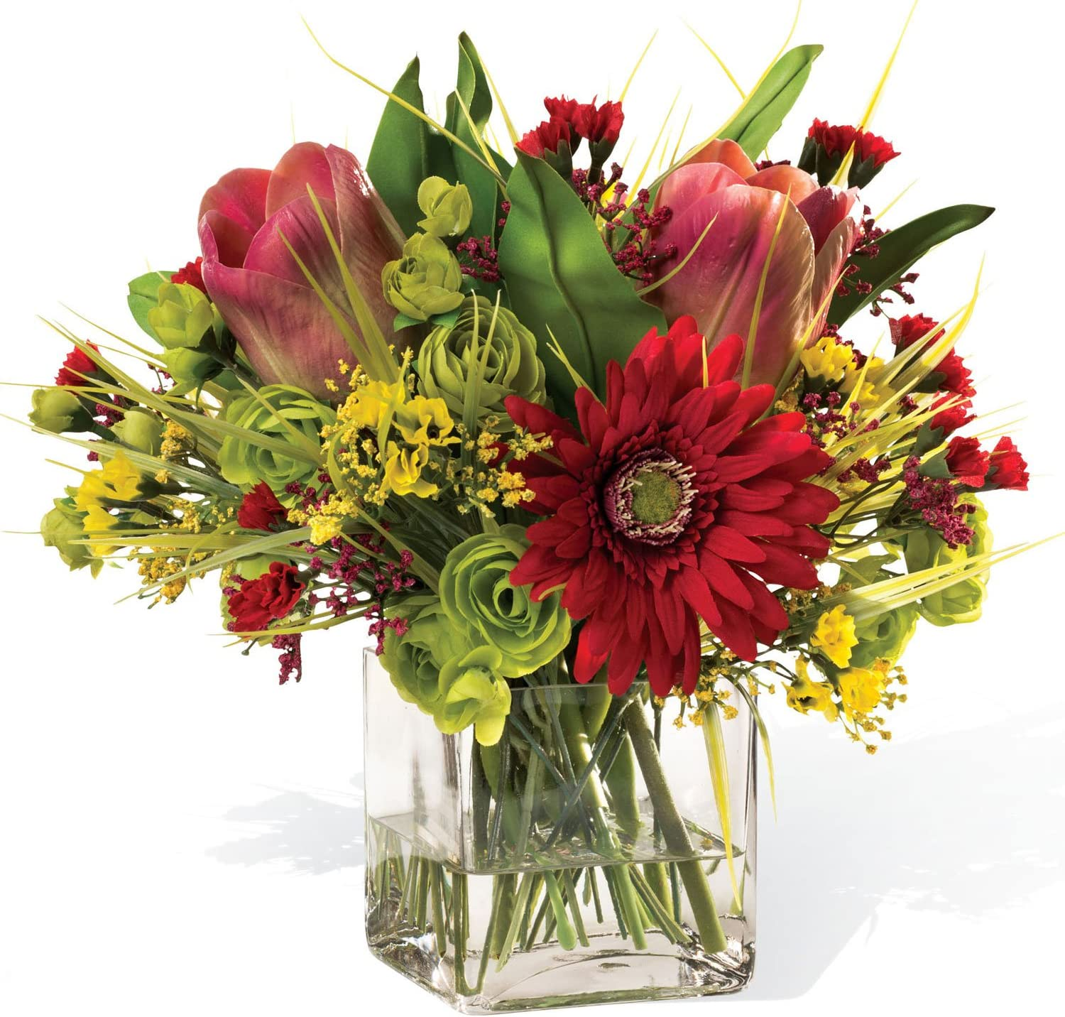 Tulip, Gerbera, and Daisy Assorted Centerpiece