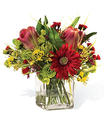 Amazon gerbera daisy tulip silk flower centerpiece home gerbera daisy tulip silk flower centerpiece mightylinksfo