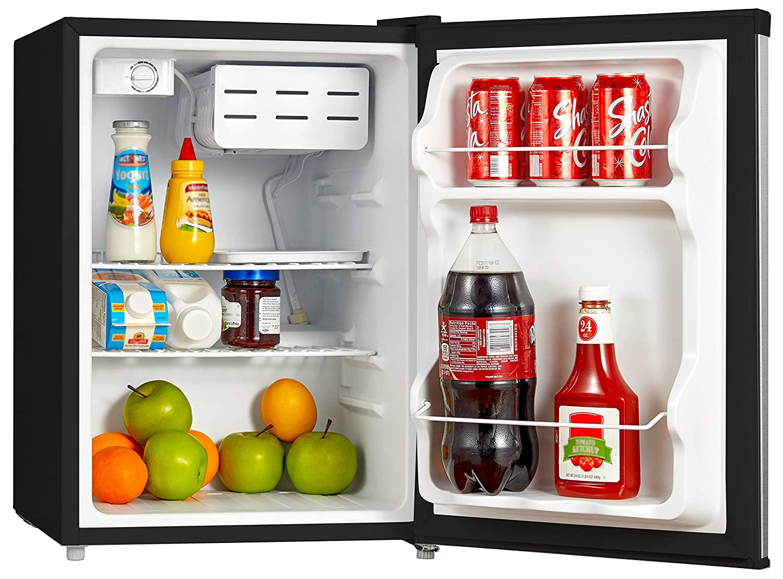 Black 1.6 Cubic Feet Midea WHS-65LB1 Compact Single Reversible Door Refrigerator 0.045 Cubic Meter Renewed