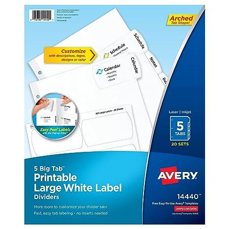 Avery Big Tab imprimible grande blanco etiqueta separadores con Easy Peel, 5 pestañas, 20