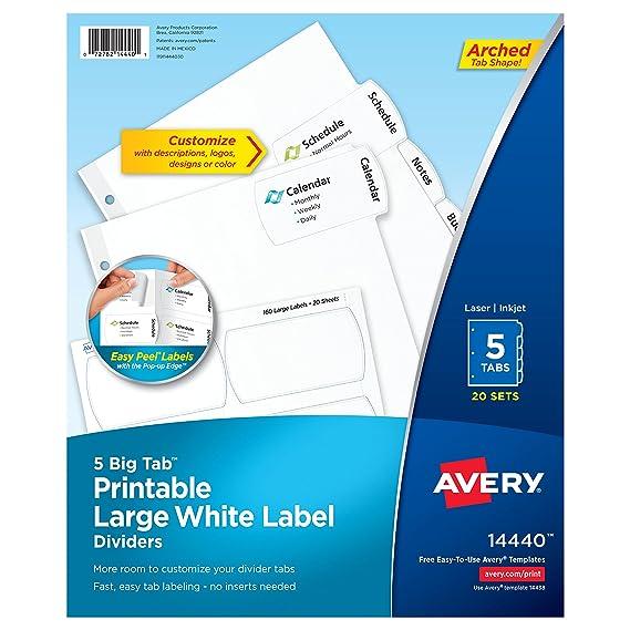 Avery Big Tab imprimible grande blanco etiqueta separadores con Easy Peel, 5 pestañas, 20 sets (14440): Amazon.es: Oficina y papelería