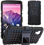 GizzmoHeaven Google Nexus 5 Hülle Stoßfest Handy Schutzhülle Stoßgedämpfter Extraharte Tasche Silikon Gel Hybrid Armor Cover Case Etui mit Ständer für LG Google Nexus 5 - Schwarz
