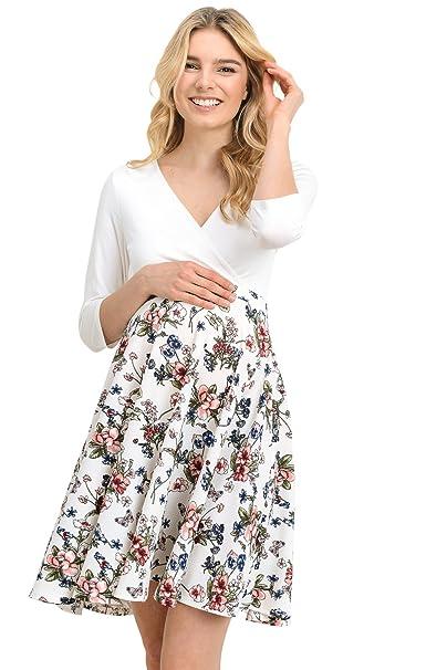 Hello MIZ Vestido de maternidad para mujeres X-Grande Blanco marfil