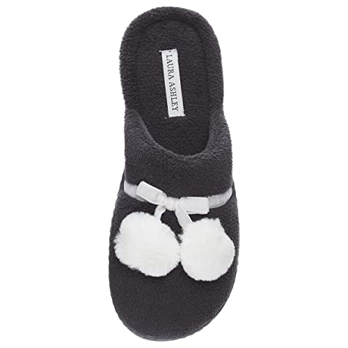 58a45e925772d Laura Ashley Ladies Terry Cushioned Open Back Slippers with Pompoms (See  More Colors and Sizes)