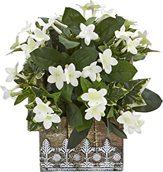 Amazon Com Nearly Natural Mini 10in Mix Stephanotis And Ivy Artificial Hanging Floral Design House Planter Silk Plants White Furniture Decor
