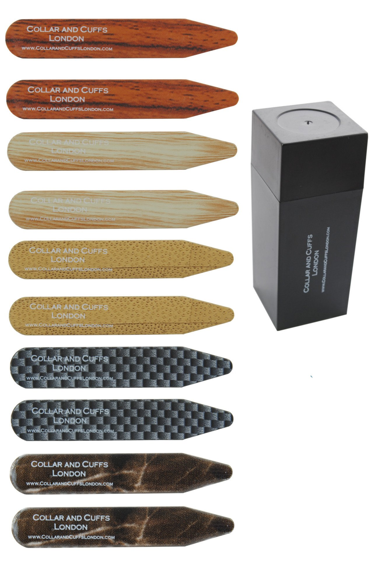 COLLAR AND CUFFS LONDON - 10 Shirt Collar Stiffeners - RARE DESIGNS - 2.35'' - Silver Brown and Black Colours - With Plastic Storage Box - 5 pairs