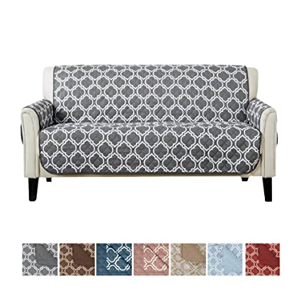 Reversible Couch Cover for 3 Cushion Couch. Printed Sofa Covers for Living Room with Secure Straps. Protect from Kids, Dogs and Pets. (74