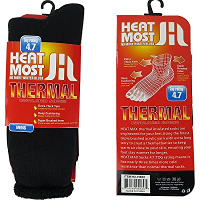 Heat Thermo Heat Max thermal insulated socks, Black, 6-12: Clothing [5Bkhe0802846]