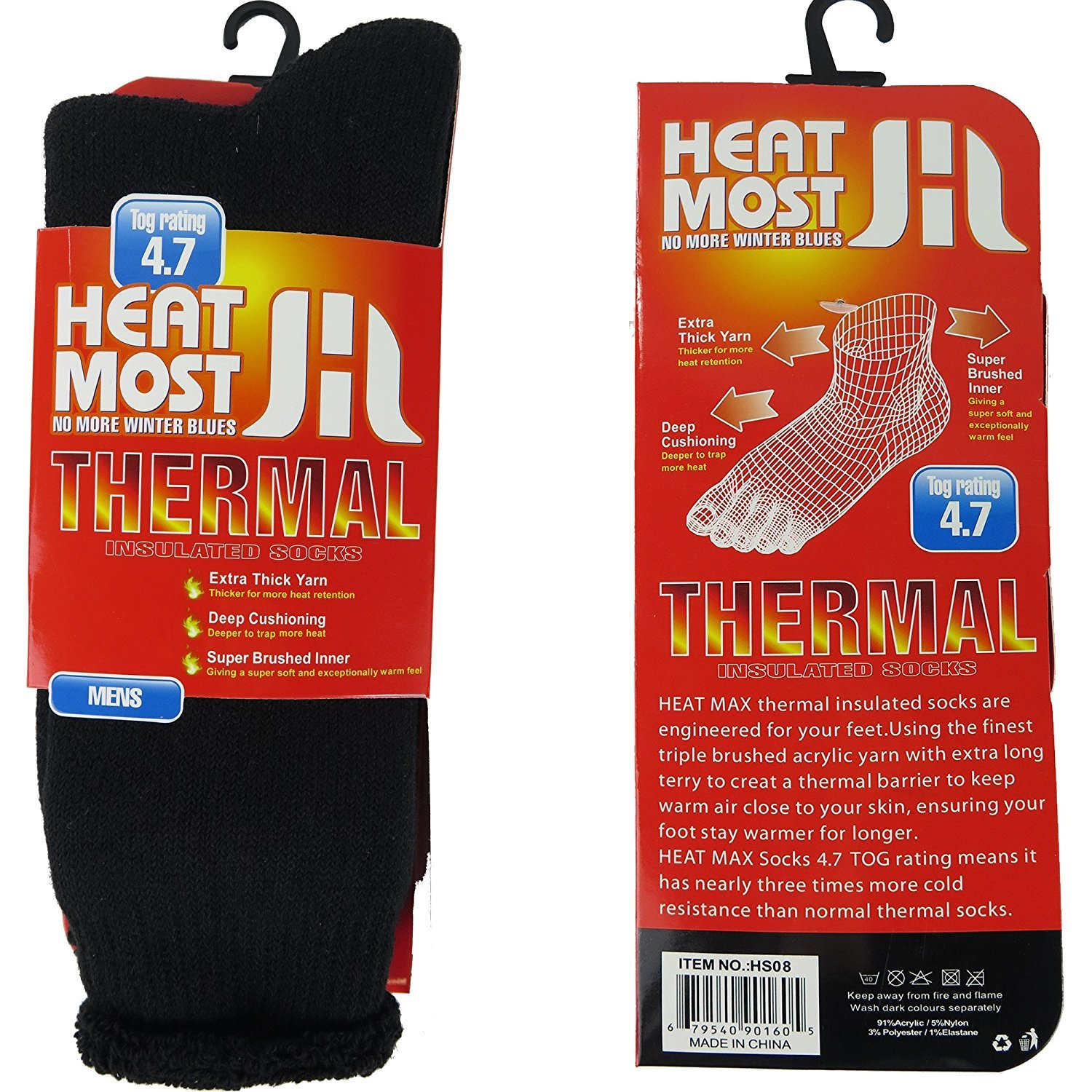 Heat Thermo Heat Max thermal insulated socks, Black, 6-12